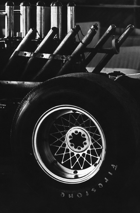 Engine and wheel of Jim Hall's Chaparral race car 1966