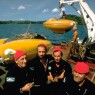Jacques Cousteau and crew aboard the research ship Calypso.